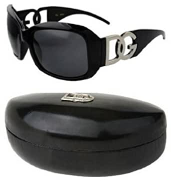 DG Eyewear Black Sunglasses & 1 Black DG Case JE36162B&C + Free Micro Fiber Bag