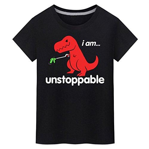Bluestercool Hommes Casual Manches Courtes Dinosaure Imprimé T-Shirts Tops Noir
