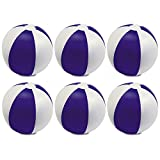 eBuyGB Pack of 6 Inflatable Colour Beach Ball 22 cm / 9'' - Beach Pool Game (Purple)