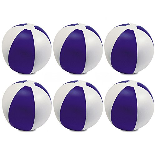eBuyGB Pack of 6 Inflatable Colour Beach Ball Pool Game, Purple, 22cm / 9'' by eBuyGB