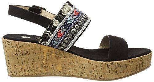 La Strada Black Suede Look Sandal With Cork Wedge - Sandalias Mujer Negro - Schwarz (2201 - micro black)