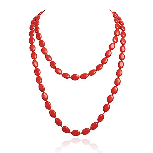 JANE STONE Coral Red Beaded Trendy Prom Party Jewelry Clothing Evening Long Necklace (Fn1274-Red)