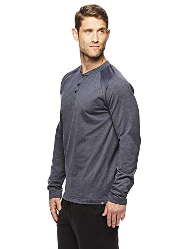 Gaiam Men's Long Sleeve Henley T Shirt - Yoga & Workout Activewear Top - Longevity Ebony Heather, Large Active Long Sleeve Training Top