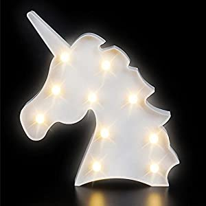 Kicko Unicorn Night Light LED Lamp – 1 Piece – Battery Operated 9.75 Inch Light Box Marquee Signs – Ideal for Party Supplies, Table and Wall Decoration, Kids' Room, Home Decor, Party Favors