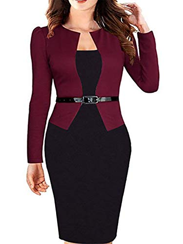 - Babyonlinedress Women's Elegant Chic Bodycon Formal Dress(Burgundy,M)