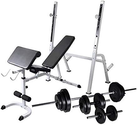 Festnight- Banco de Ejercicios Musculación con Soporte Pesas, Pesas Mancuernas Ajustables 30,5 kg: Amazon.es: Deportes y aire libre