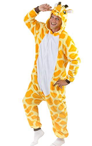 Adult Onesie Giraffe Animal Pajamas Comfortable Costume with Zipper and Pockets (Adult Halloween Costumes /care Bear)