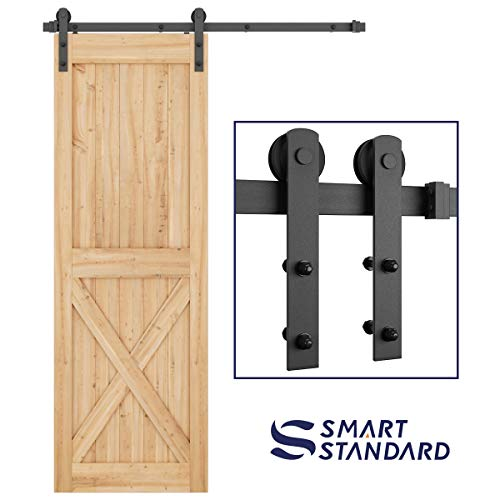 (SMARTSTANDARD 5ft Heavy Duty Sturdy Sliding Barn Door Hardware Kit -Smoothly and Quietly -Easy to Install -Includes Step-by-Step Installation Instruction Fit 30