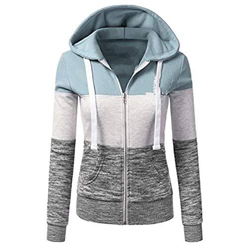 spyman Sweatshirts Women Hoodies Long Sleeve Hoody Ladies Zipper Pocket Patchwork Hooded Sweatshirt Woman Baseball Jacket Z33,Light Green 3,L ()