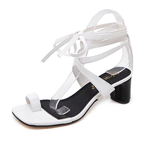 Flops Blanc Femmes Talons Bas Toe Flip Mode D'été Chaussures Cheville Jusqu'à Ring Dentelle La Square Sangle Sandales 6R0T6a