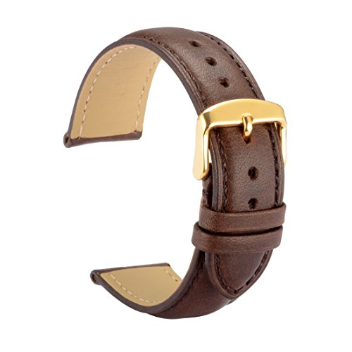WOCCI Watch Bands 18mm Dark Brown Vintage Leather Watch Strap with Golden Metal Pins Buckle for Women or Men