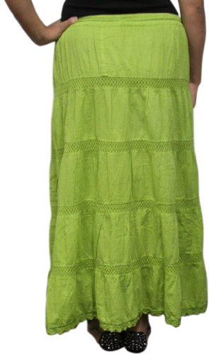 LSS49 Summer Green LONG SOLID Ethnic Womens Peasant Bohemian Gypsy Full Length Skirt - Lined, one size