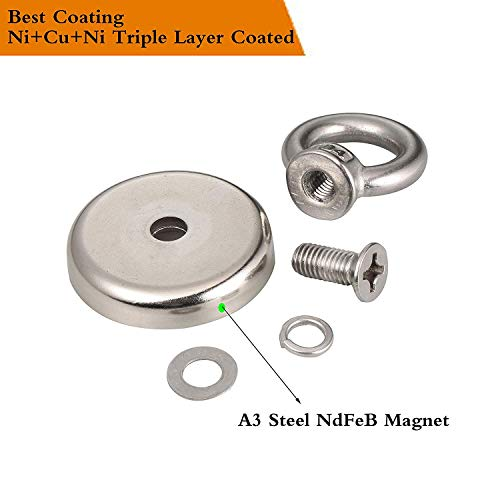 N52 Magnetic Grade for Magnet Fishing and Salvage in River Wukong 165LB Pulling Force Fishing Magnets 48mm Diameter Super Powerful Big Round Neodymium Magnet 75KG
