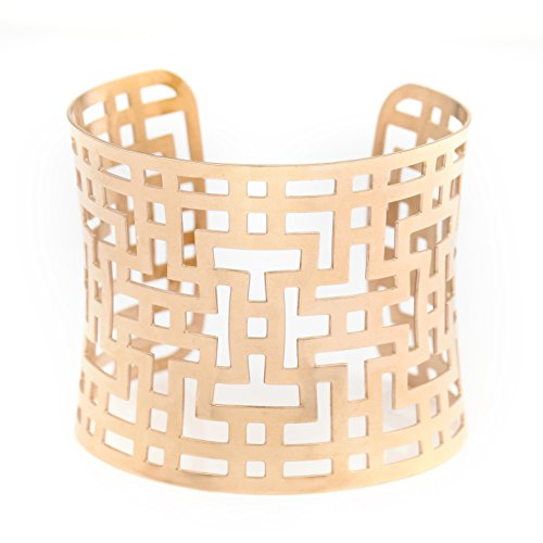 United Elegance- Contemporary Rose Gold Tone Bracelet with Cut Out (Contemporary Cuff Bracelet)
