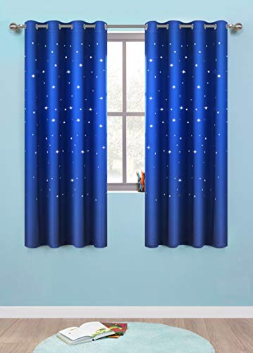 Anjee Romantic Starry Sky Space Curtains for Kids Room (2 Panels 2 Tiebacks), Blackout Curtains with Punched Out Stars, Cute Window Drapes(52 x 63 inches, Royal Blue)