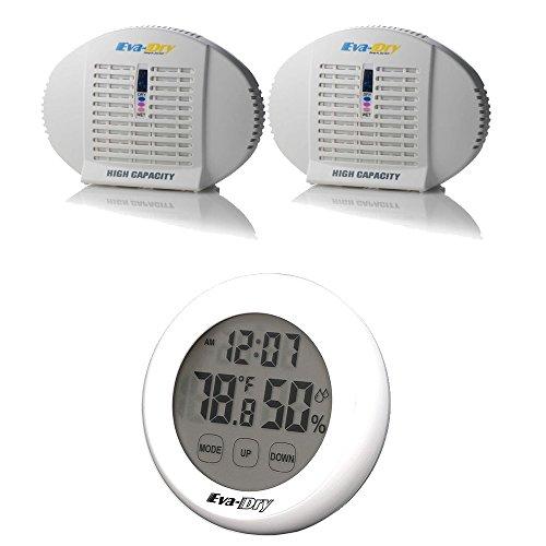 Eva-Dry EDV500 Dehumidifiers x2 Indoor Humidity Monitor Hygrometer White