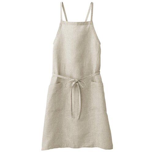 MUJI Hemp plain weave Cook's Shoulder cross apron Ecru Length 90cm &Pouch MoMA cooking ()