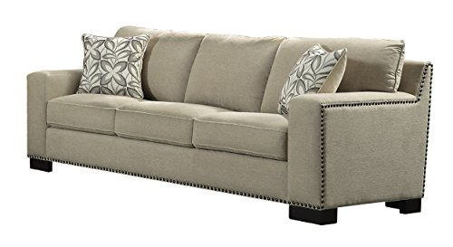 Homelegance Gowan Sofa with Nail Head Accented Track Arm Chenille, Beige