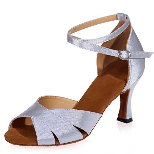 A8349 Plataforma Baile De TacóN para Mujer 7 Zapatos Latin Elobaby De Buckle Satin Jazz Toe Kitten Silver 5cm Dress TxqwdffS4