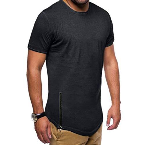 iHPH7 T-Shirt Men ComfortSoft Short Sleeve Mucle Solid Short Sleeve Zipper O-Neck Top Blouse T-Shirt XXL Black]()