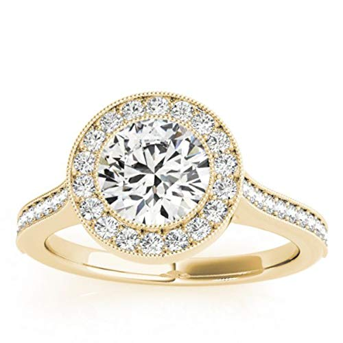 ((0.33ct) 18k Yellow Gold Milgrain Cathedral Halo Engagement Ring Setting )