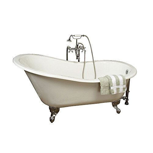 Barclay Cast Iron Slipper Tub (Barclay CTSN60-WH-CP Cast Iron Slipper Tub 61-Inch, White with Chrome Feet, No Faucet Holes)