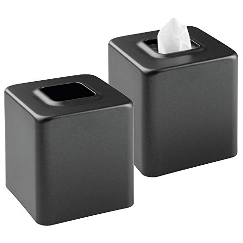 mDesign Modern Square Metal Paper Facial Tissue Box Cover Holder for Bathroom Vanity Countertops, Bedroom Dressers, Night Stands, Desks and Tables, 2 Pack - Black