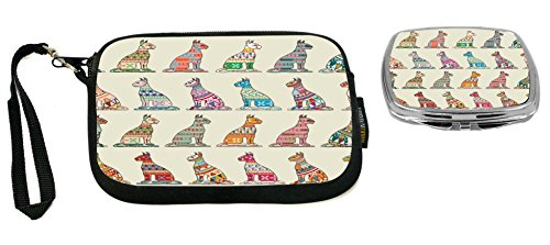 Rikki Knight Tribal Pattern Cats Colorful Illustration Design Neoprene Clutch Wristlet with Matching Square Compact Mirror