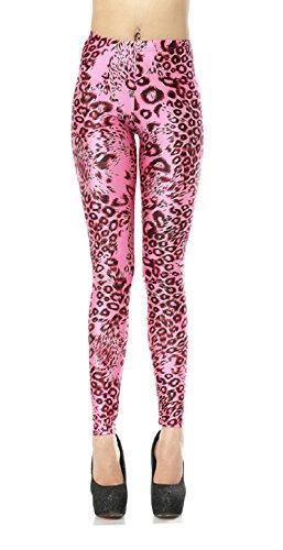DaMaiZhang Women's Fashion Digital Print Pencil Pant Stretch Fadeless Colorful Stretch Leggings Tight Pants (XL, Pink Leopard)
