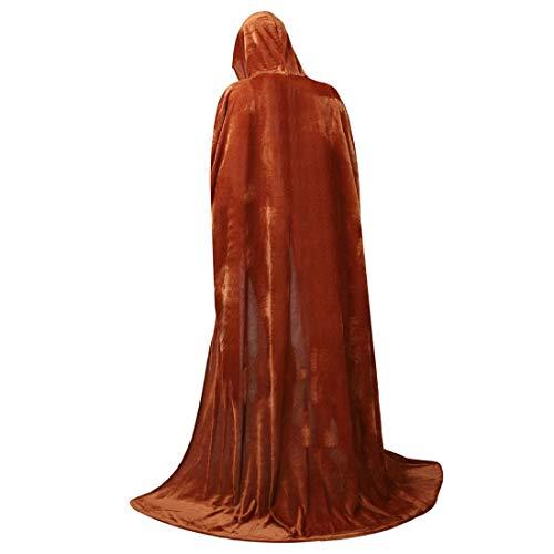 (Zhitunemi Full Length Unisex Hooded Cloak Long Velvet Role Cape for Halloween Cosplay Costume)
