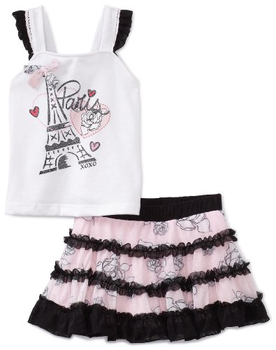 Xoxo Baby Girls' Paris Skooter Set, White/Pink, 12 Months