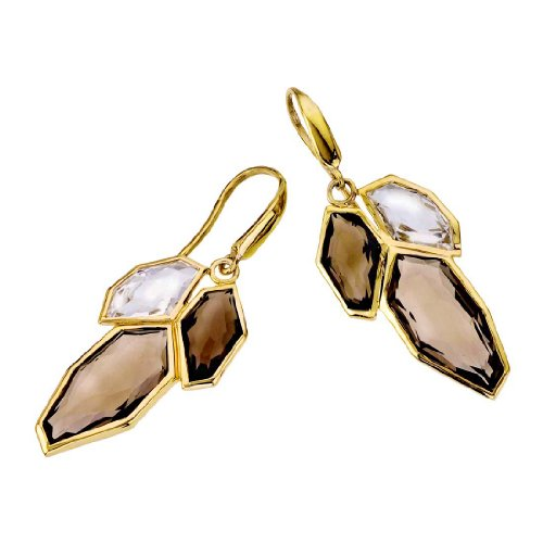 18K Vermeil White & Smoky Quartz (Smoky Vermeil Earrings)