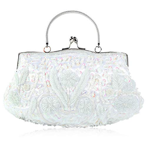 Beaded Evening Bag Handbag - EROUGE Beaded Sequin Design Flower Evening Purse Large Clutch Bag (white)