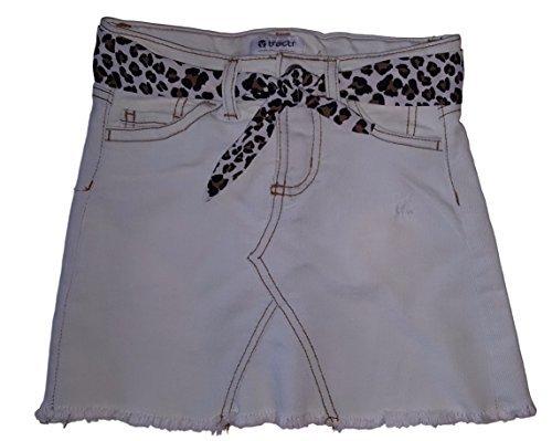 Skort Jean Skirt (Tractr Big Girls Weathered Hem Stretch Denim Skort (8, light wash))