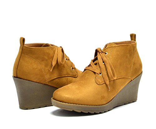 DREAM PAIRS TOMS-11 Women's Casual Outdoor Lace Up Low Wedge Heel Booties Tan 6 B(M) US
