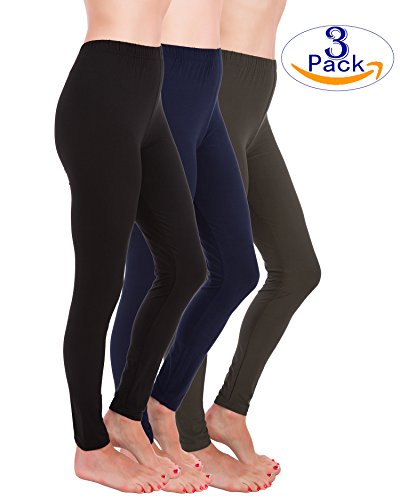 Homma Premium Ultra Soft High Rise Waist Full Length Regular and Plus Size Variety Pack Leggings (3XL/4XL, Black,Navy,Charcoal) - Extra Plus Pack