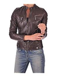 Zafy Leather Women's Leather Jackets Dark Brown Women L64_