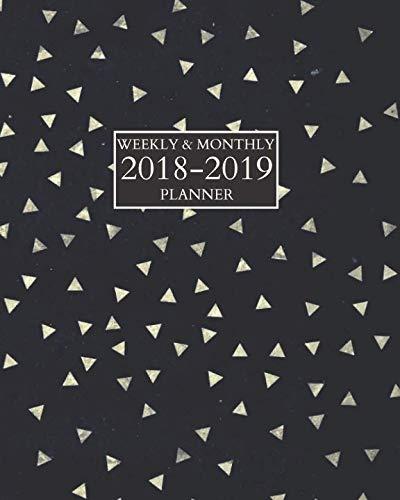 8-2019 Planner: Schedule Organizer Notebook Sept 2018 - Dec 2019 Black with Silver Triangles ()