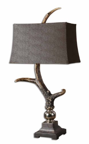 Uttermost 34-Inch Tall Stag Horn Table Lamp with Dark Shade