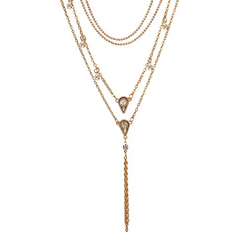 Women Multilayer Alloy Pendant Necklace Chain Body Jewelry Cross Pendant Necklace Elegant Crystal Choker Collar Pendant Y-Chain ()