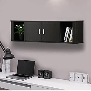 Amazon.com: Yaheetech 2 Cube Wall Mounted Media Storage Cabinet 2 Door  Floating Console Hutch Black: Kitchen U0026 Dining