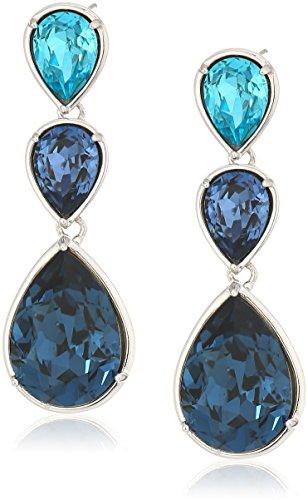 Platinum-Plated Swarovski Crystal Crystal Multi Turquoise Pear shape-Bezel Statement Drop Earrings