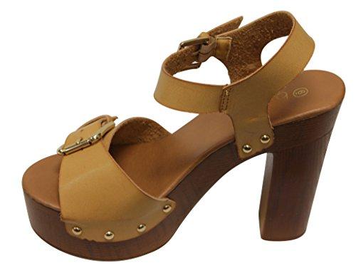 Lexie open heel ankle womens woody strap sandals 1 toe platform chunky Betani stud Camel ZUqSxwdZ6