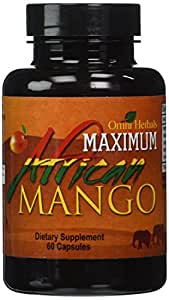 Maximum African Mango - 100% Pure African Mango Plus Guarana - Kola Nut - Green Tea - Advanced Weight Loss Supplement - High Potency - Appetite Suppressant - Energy Boosters - Fat Burner - Slimming - Highest Quality - All Natural - No Caffeine Added - 450 mg per Capsule (1 Bottle - 1 Month Supply)
