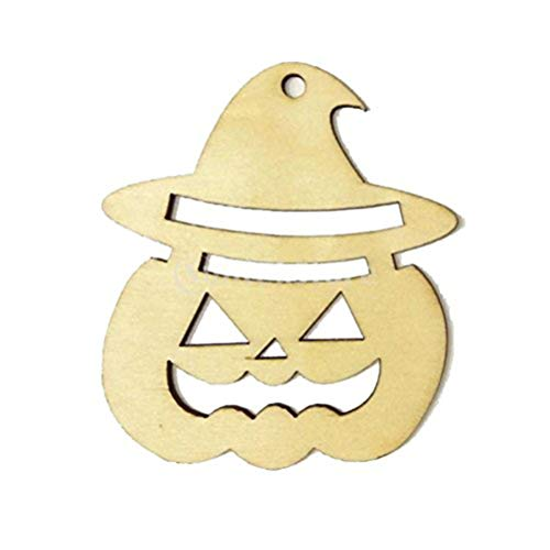VT BigHome 10pcs Wooden Tags Pumpkin Face Shape Halloween Hanger DIY Wooden Crafts Party Wood Halloween Decorations with String
