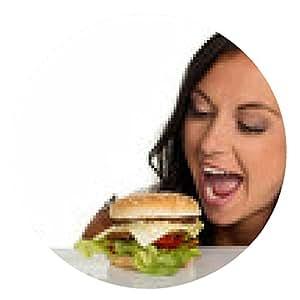 alfombrilla de ratón Mujer con una hamburguesa - ronda - 20cm