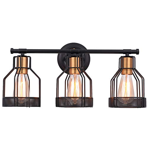Pauwer Industrial Bathroom Vanity Light Metal Cage Wall Sconce Edison Vintage Wall Light Fixture for Bathroom (3-Light Vanity Light)