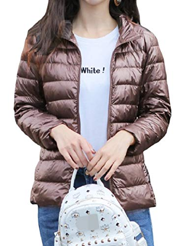 MogogoWomen Solid Weight Down Short Size Collar Light Plus Mini Stand Zip Jackets Khaki p0rfpxF