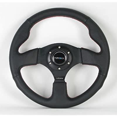 NRG Steering Wheel - 12 (Race) - 320mm (12.60 inches) - Black Leather/Black Spokes with Red Stitching - Part # ST-012R: Automotive