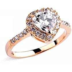 18k Rose Gold Plated Austria Crystal Aaa CZ Perpetual Promise Heart Valentine's Day gift